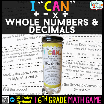6th Grade Operations with Whole Numbers & Decimals Game -
