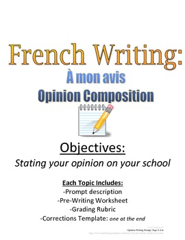 Opinion Composition for French Students: Rubric and Pre-Wr