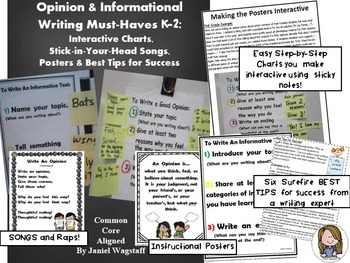 Opinion & Informational Writing Interactive Charts, Songs,