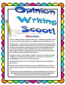 Opinion Persuasive Writing - SCOOT Lesson - Grade 2-6 (30