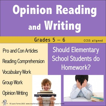 Opinion Writing and Opinion Reading - Should Elementary St