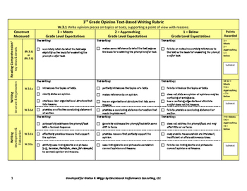Opinion Text-Based Writing Rubric and Checklist for 3rd Grade