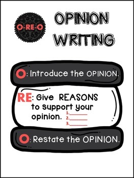 Oreo Opinion Writing Posters, Graphing Organizers, and Prompts