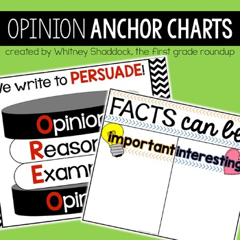 Opinion Writing Anchor Charts for 1st Grade