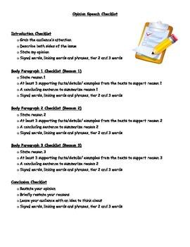 Opinion Writing Checklist