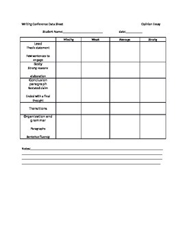 Opinion Writing Conference Sheet
