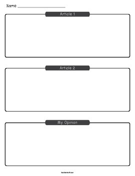 Opinion Writing Graphic Organizer (Comparing Two Articles)