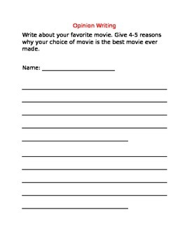 Opinion Writing Prompts CCSS