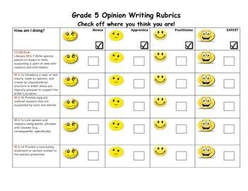 Opinion Writing Rubrics Grade 5