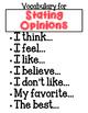 Opinion Writing Sentence Starters, Vocabulary Posters