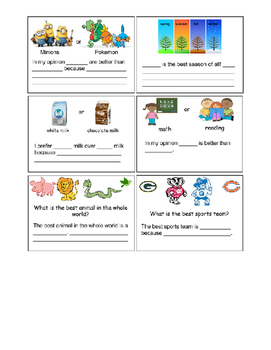 Opinion Writing Starters- Topics Created by Students