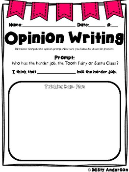 Opinion Writing With Reading Passages: Tooth Fairy or Santa Claus