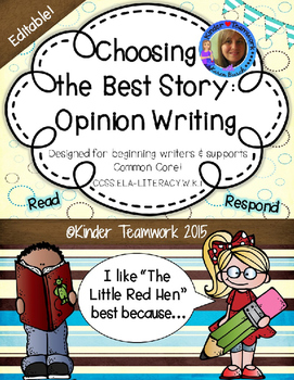 Opinion Writing for Kindergarten; My Favorite Book or Stor