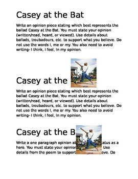 """Opinion writing with """"Casey at the Bat"""""""