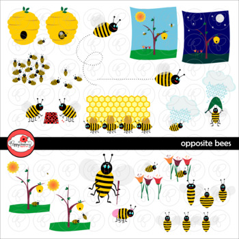 Opposite Bees Clipart by Poppydreamz