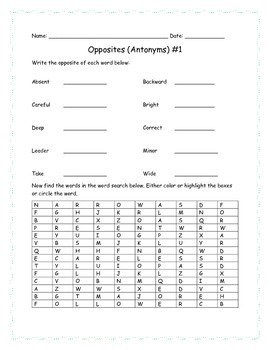 Opposites (Antonyms) for older grades