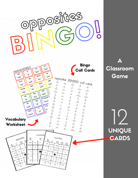 Opposites Vocabulary Sheet and Bingo - 12 Cards