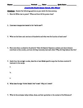 Oprah and Elie Wiesel Interview Worksheet and 15-Question