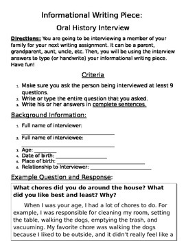 Oral History Project: Informational Writing