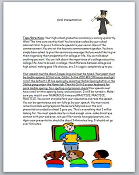 Oral Presentation Assignment (Fun Graduation Speech) w/ De