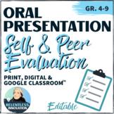 Oral Presentation Peer Evaluation Form