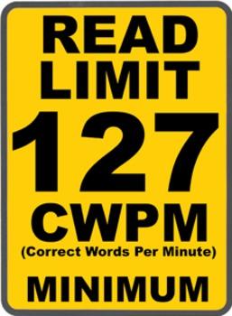 Oral Reading Fluency READ LIMIT 5th Grade Sign COMMON CORE