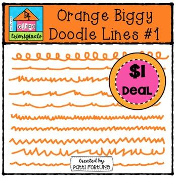 Orange Biggy Doodle Lines #1 {P4 Clips Trioriginals Digita
