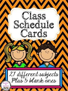 Orange & Black Chevron Class Schedule Cards