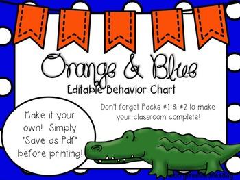 Orange & Blue (Gator Sports) Editable Behavior Chart