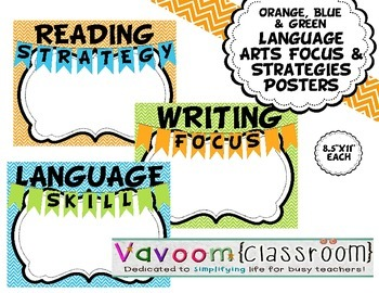 Orange, Blue, & Green Chevron Language Arts Focus and Stra