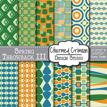 Orange, Blue, and Green Retro Digital Paper 1205