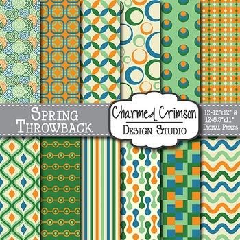 Orange, Blue, and Green Retro Digital Paper 1047