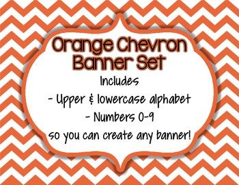 Orange Chevron Alphabet Banner Set (upper & lowercase, num