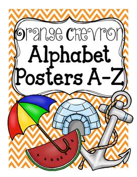 Orange Chevron Alphabet Posters