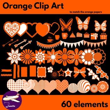 Orange Clip Art Decoration Scrapbooking Elements - 60 items