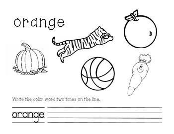 Orange Color and Write Worksheet