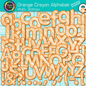 Crayon Texture Alphabet Clip Art {ORANGE} - Clip Art Lette