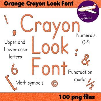 Alphabet Clip Art Orange Crayon Look  Numerals, Punctuatio