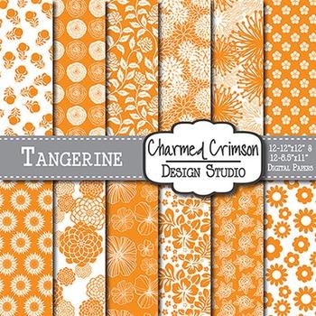 Orange Floral Digital Paper 1477