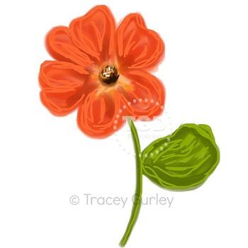 Orange Flower - flower clip art Printable Tracey Gurley Designs