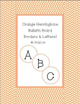 Orange Herringbone Bulletin Board Border & Letter Set