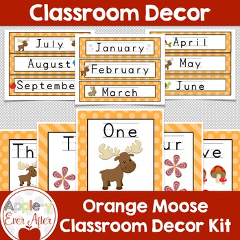 Orange MOOSE and Forest Animal Theme Classroom Decor-OVER