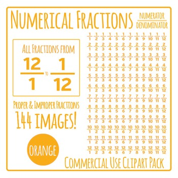 Orange Numerical Fractions - Numerator and Denominator Com