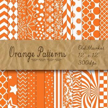 Orange Pattern Designs - Digital Paper Pack - 24 Different
