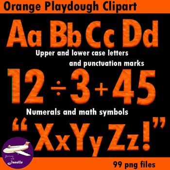 Orange Playdough Look Alphabet Clip Art for your bulletin