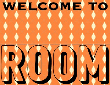 Orange Teacher Room Sign