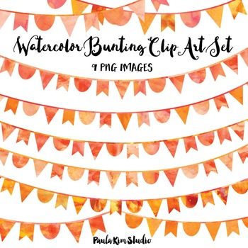 Orange Watercolor Bunting Clip Art