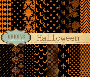 Orange and Black Halloween Digital Paper Pack Scrapbook Ba