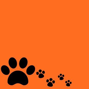 Orange and Black Paw Print Digital Paper