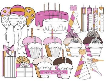 Orange and Pink Birthday Digital Clip Art Set-Color and Bl